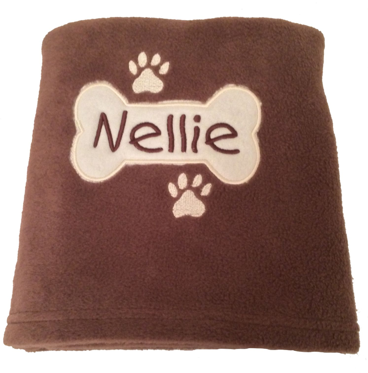 Personalised Dog Blanket With Applique Bone Embroidered