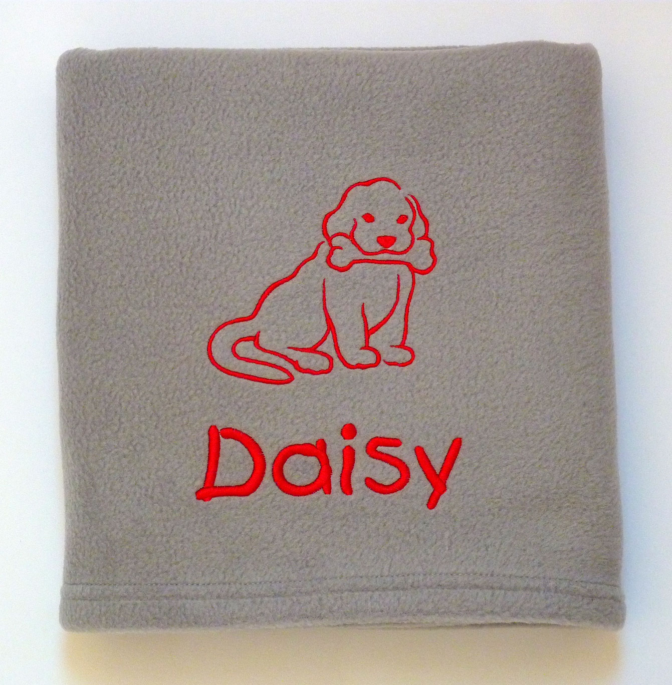 Personalised Dog Blanket with Puppy and Bone Design
