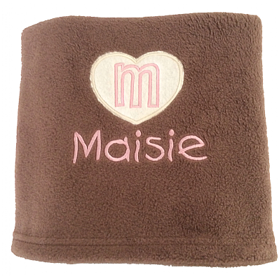 Personalised Dog Blanket with Appliqué Heart