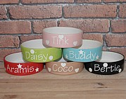 Personalised Straight Sided Dog Bowl with Polka Design