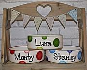 Personalised Straight Sided Dog Bowl with Spots