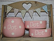Treat Jar and Bowl Set with Polka Design