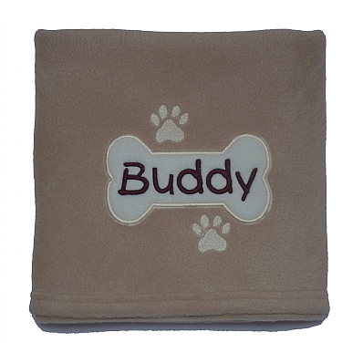Personalised Dog Blanket with Applique Bone Design
