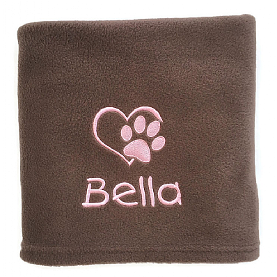 Personalised Dog Blanket with Heart and Paw