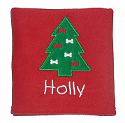 Personalised Dog Blanket with Christmas Tree