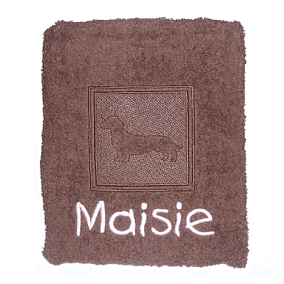 Personalised Dog Bath Towel with Embossed Dachshund