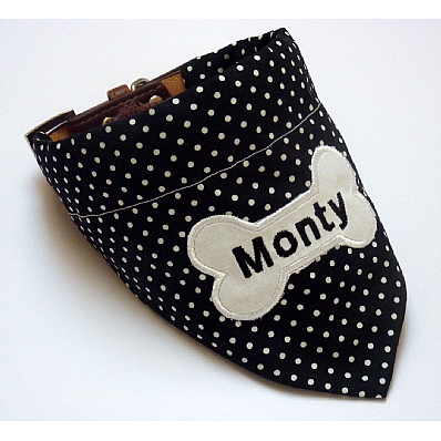 Personalised Dog Bandana Black & White Polka Dot