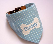 Personalised Dog Bandana Blue & White Polka Dot
