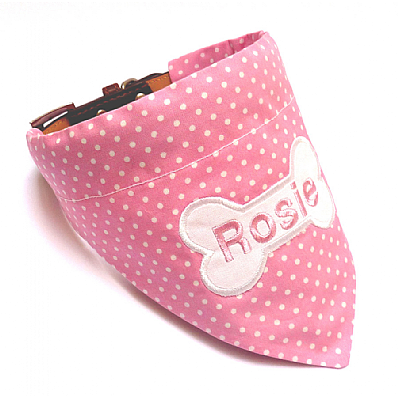 Personalised Dog Bandana Pink & White Polka Dot