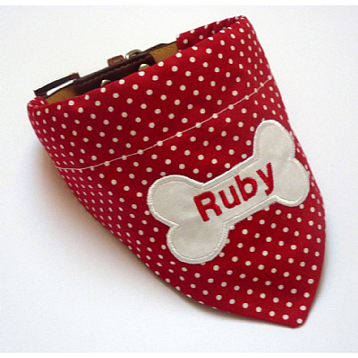 Personalised Dog Bandana Red & White Polka Dot