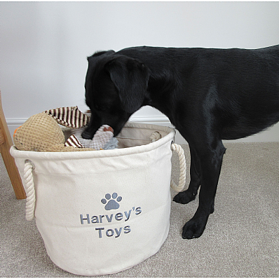A Personalised Dog Toy Storage Bag