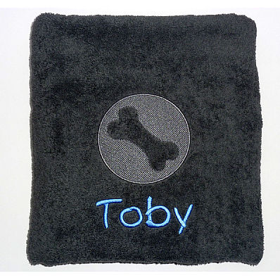 Personalised Dog Bath Towel with Embossed Bone