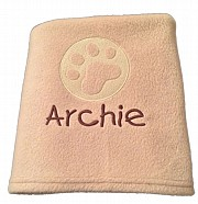 Personalised Dog Blanket with Embossed Paw