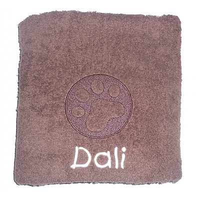 Personalised Dog Bath Towel with Embossed Paw