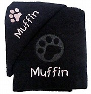 Personalised Dog Bath Towel Set with Embossed Paw