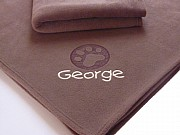 Large Personalised Dog Blanket with Embossed Paw