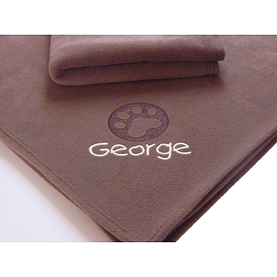 Large Personalised Blanket with Embossed Paw