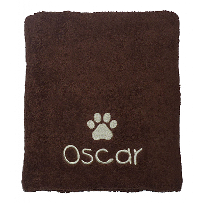 Personalised Dog Bath Towel with Paw Print