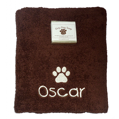Personalised Dog Bath Towel with Natural Dog Soap