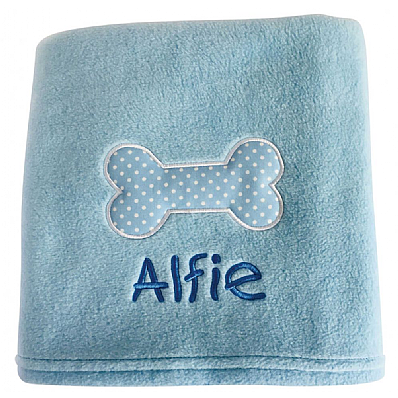 Blue Personalised Dog Blanket with Polka Dot Bone