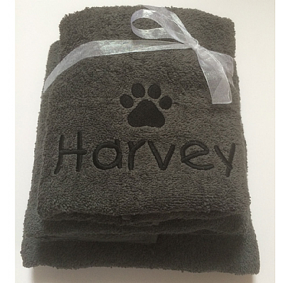 Personalised Dog Towel Set with Paw Print