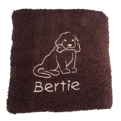 Personalised Dog Bath Towel with Puppy & Bone