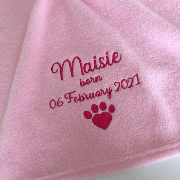 Personalised Puppy Birth Date Blanket