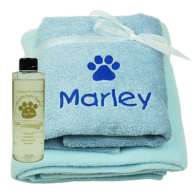 Personalised Puppy Gift Set with Puppy Shampoo Blue