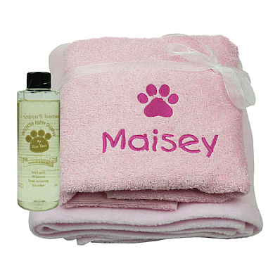 Personalised Puppy Gift Set with Puppy Shampoo Pink