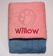 Personalised Puppy Bath Towel with Embossed Paw